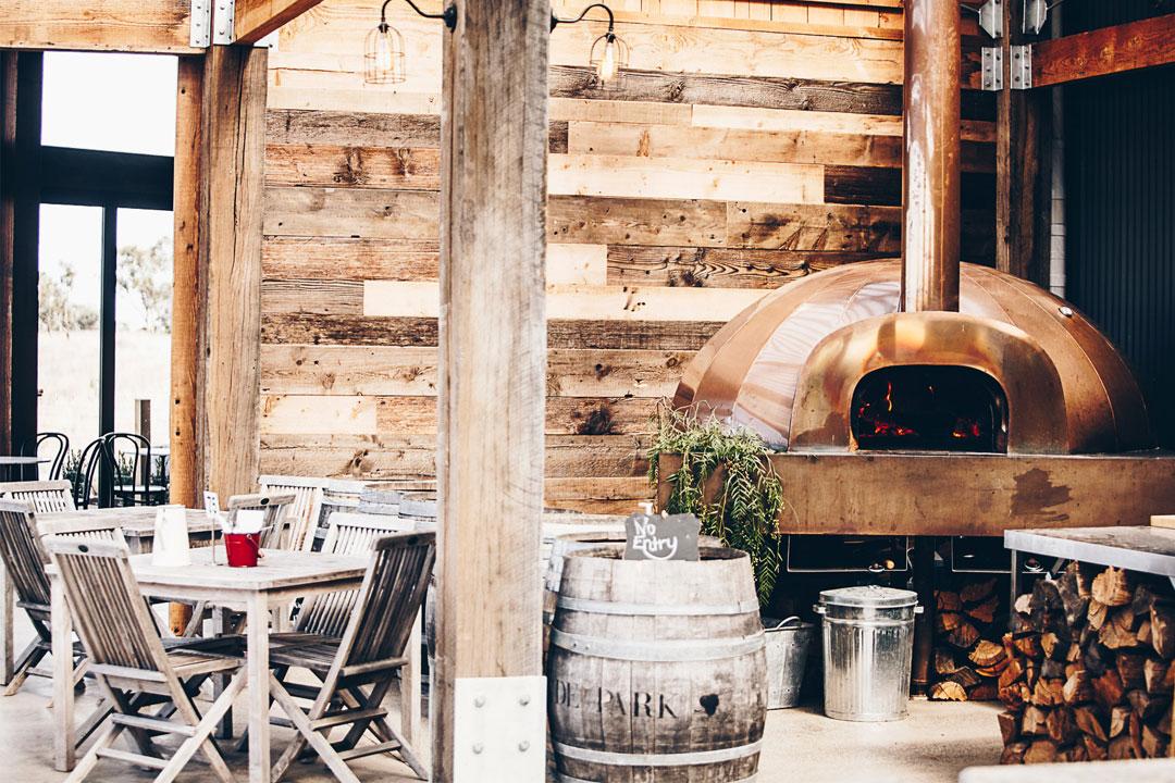 Clyde Park cellar door with woodfired pizza oven in Bannockburn, Geelong