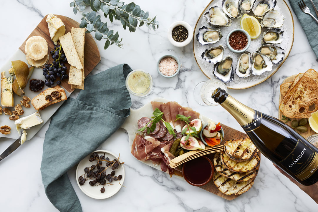 Domain Chandon cellar door food spread, oysters, champagne and charcuterie