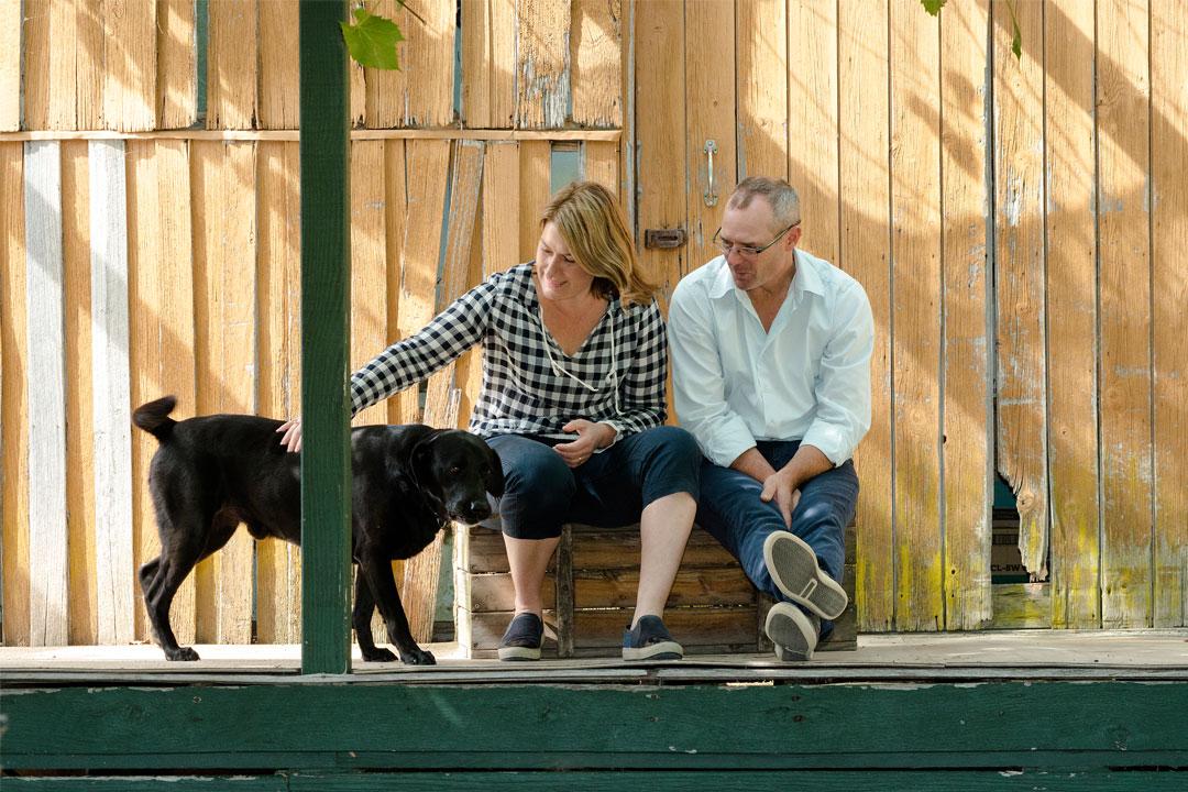 Longleat Wines cellar door winemakers and pet dog