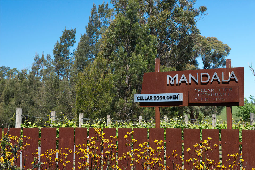 Mandala Wines front entrance sign