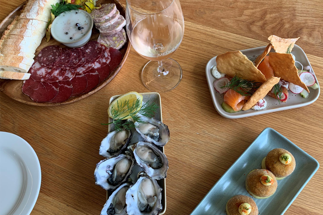 Medhurst Wine winery cellar door oysters, charcuterie, and other dishes