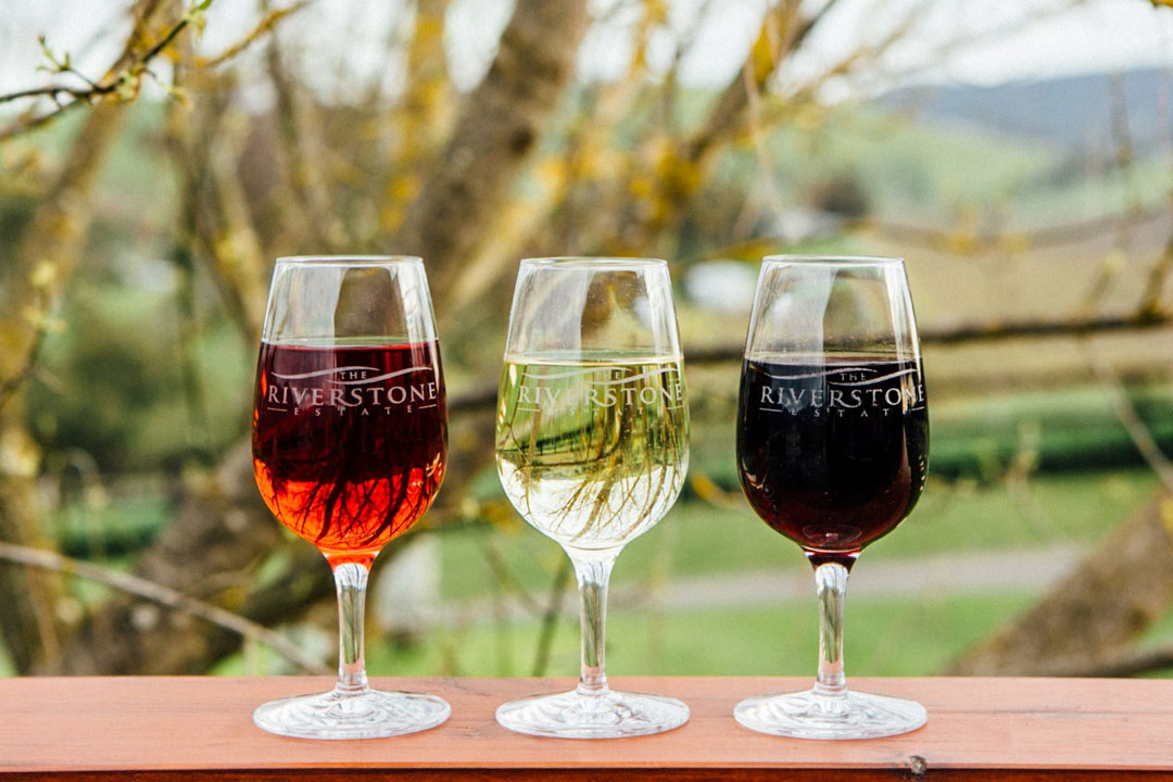 The Riverstone Estate white, red and rose wine in glasses