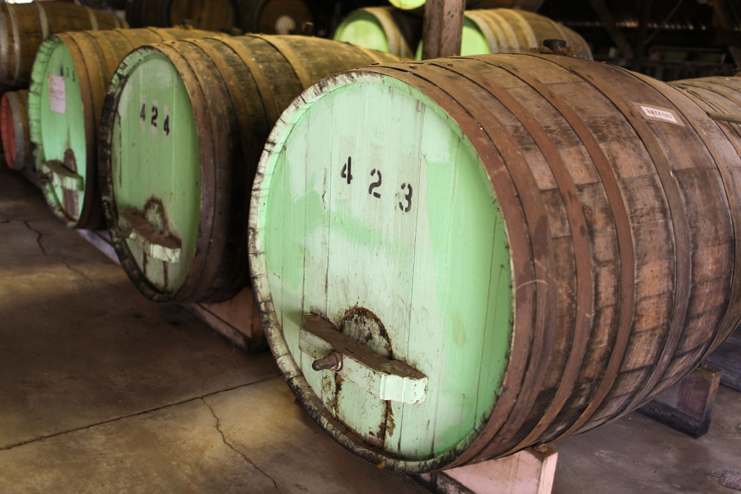 Chateau Mildura winery barrels