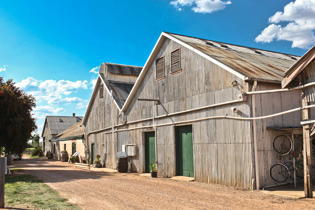Chateau Mildura winery sheds old green doors