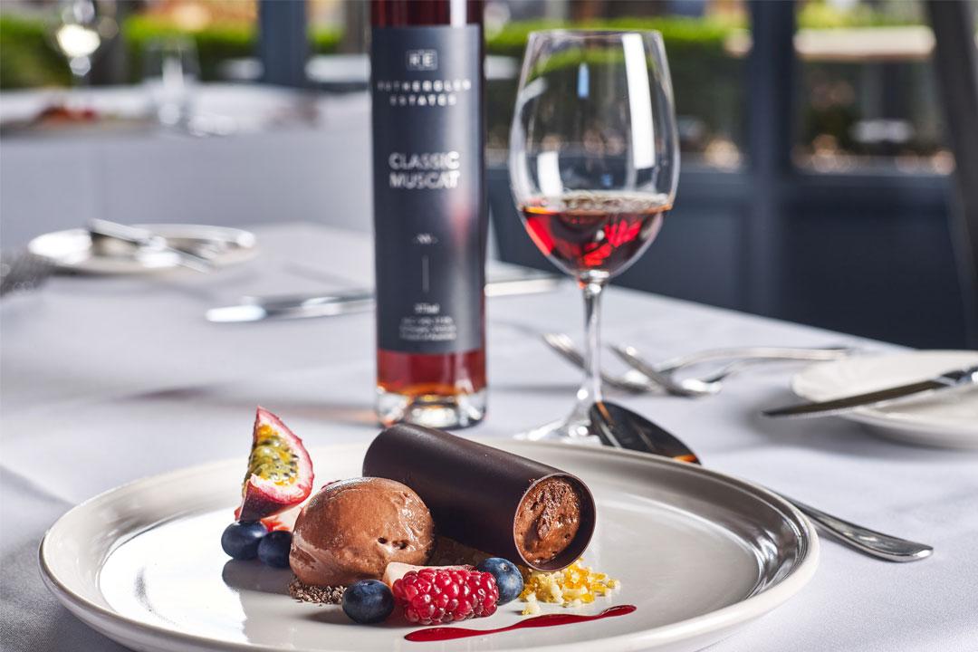 Rutherglen Estates restaurant dessert and wine